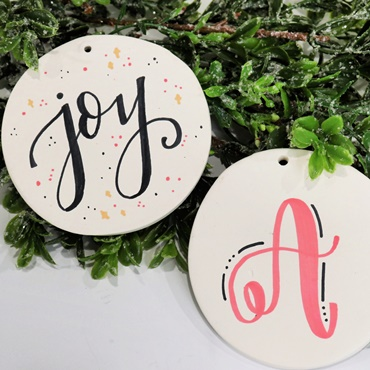 Hand Lettered Bisque Ornaments