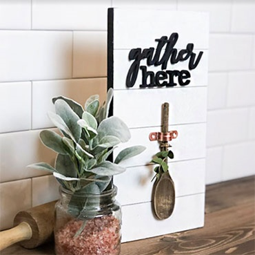 "Farmhouse Shiplap ""Gather Here"" Sign"