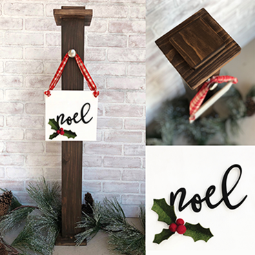 Front Porch Post with Holiday Sign