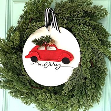 3D Christmas Car Wreath Center
