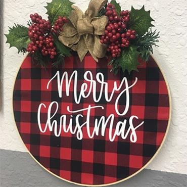 Christmas Embroidery Hoop Wreath