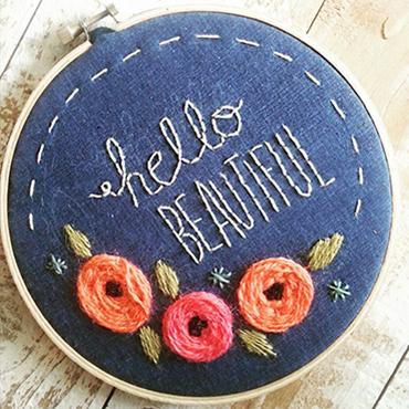 Hello Beautiful Hoop Art Embroidery