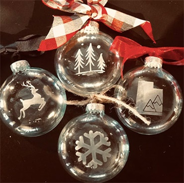 Glass etched Ornaments