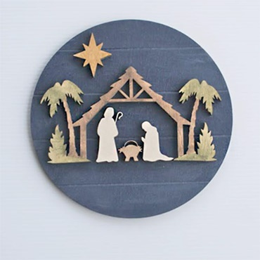 Watercolor Nativity on Wood