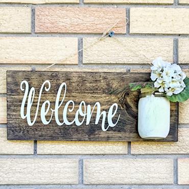 Mason Jar Welcome Sign