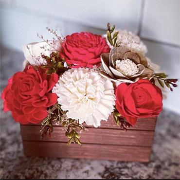 Wood Floral Christmas Centerpiece