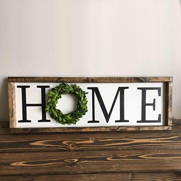 Home Boxwood Wreath Sign