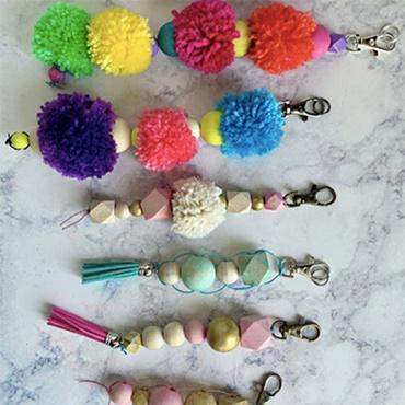 Bead and Pompom Keychains